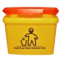 "Yellow Rectangular Bucket 16 Litre - Printed ""Mask Disposal"" with Orange Hinged Lid"